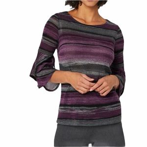 Laura Petite striped shirt with bell sleeves